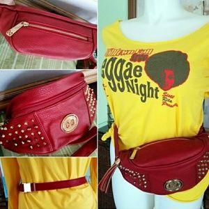 Lipstick Red Vegan Leather Gold Studded Belted Bag